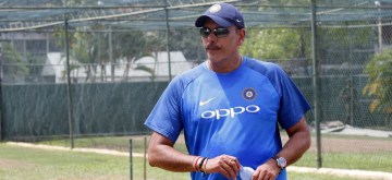 Colombo: Indian cricket team head coach Ravi Shastri during a practice session at the Sinhalease Sports Club (SSC) Ground in Colombo on Aug 2, 2017. (Photo: Surjeet Yadav/IANS)