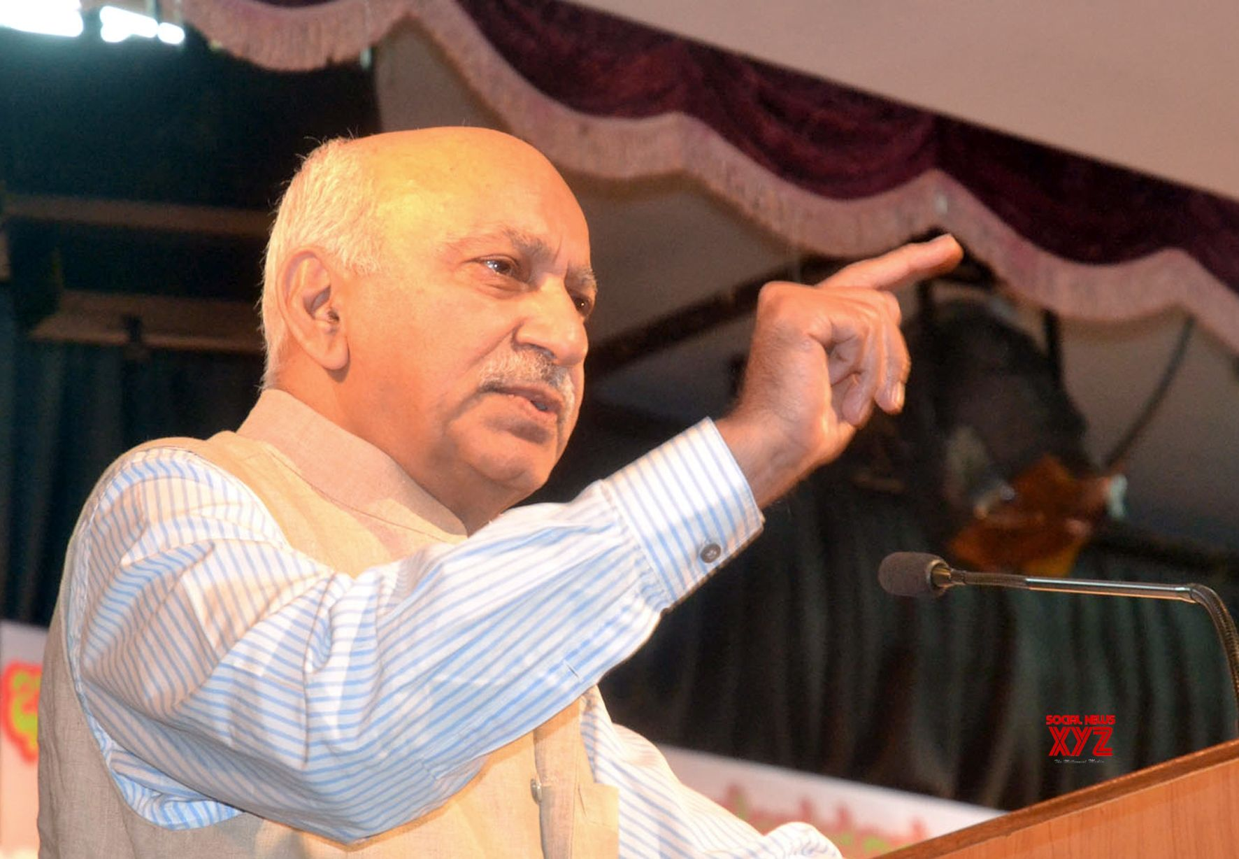 "Bengaluru: Union MoS External Affairs M.J. Akbar addresses during a discussion programme on ""Emergency, Murder of Democracy"" at Bharatiya Vidya Bhavan, in Bengaluru on June 26, 2018. (Photo: IANS)"
