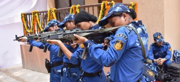 New Delhi: The newly inducted all women SWAT commandoes of Special Cell at the foundation stone laying ceremoy of the DCP South- West district, Police station Delhi Cantt. Office building and Delhi Police Residential complex, in New Delhi, on August 10, 2018. The all women SWAT commando team consists of 36 elite women, hailing from the North Eastern States, who have undergone rigorous fifteen month training which includes basic, commando and advanced honing of skills under the tutelage of NSG trainers. They will be deployed at strategic locations for securing the upcoming Independence Day celebrations.(Photo: IANS)