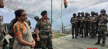 J&K: Defence Minister Nirmala Sitharaman during her visit to the Balbir forward post along with Army Chief Gen. Bipin Rawat, in Jammu and Kashmir on Sept 2, 2018. (Photo: IANS/DPRO)