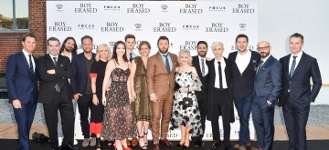 TORONTO, ON - SEPTEMBER 11: (L-R) Jason Cassidy, Josh McLaughlin, Saunder Jurriaans, Danny Bensi, Kim Hodgert, Madelyn Cline, David Craig, Kerry Kohansky-Roberts, Joel Edgerton, Martha Connelly, Garrard Connelly, Troye Sivan, Tony Lipp, Peter Kujawski, Robert Walak attend the 'Boy Erased' pre-party, presented by Focus Feature and Westbank, during 2018 Toronto International Film Festival held at Unzipped Pavilion on on September 11, 2018 in Toronto, Canada.  (Photo by Ernesto Distefano/Getty Images for Westbank And Focus Features)