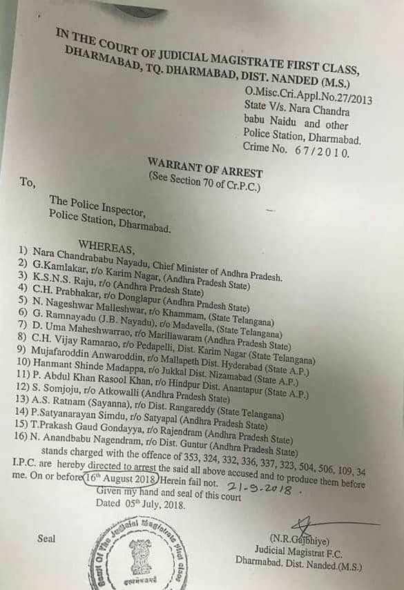 Maharashtra court issues arrest warrant against AP CM Naidu and others
