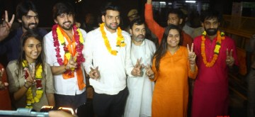 New Delhi: ABVP leaders Ankiv Baisoya, Shakti Singh and Jyoti Chaudhary who won the posts of president, vice-president and joint secretary respectively in the recently concluded DUSU polls in New Delhi on Sept 13, 2018. (Photo: IANS)