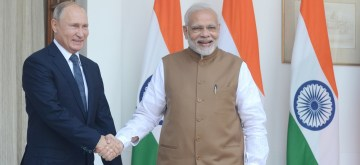 New Delhi: Prime Minister Narendra Modi during a meeting with Russian President Vladimir Putin at Hyderabad House, in New Delhi, on Oct 5, 2018. (Photo: IANS/PIB)