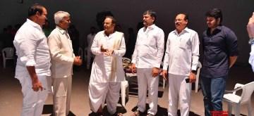 Hyderabad: Telangana Telugu Desam Party (TTDP) President L Ramana, Telugu actor and politician Nandamuri Balakrishna on the sets of an upcoming biopic on late Former Andhra Pradesh Chief Minister N. T. Rama Rao, in Hyderabad on Oct 11, 2018. (Photo: IANS)