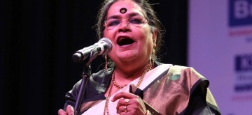 New Delhi: Singer Usha Uthup performs during a programme organised by PHD Chamber at Siri Fort Auditorium in New Delhi, on March 16, 2016. (Photo: Sunil Majumdar/IANS)