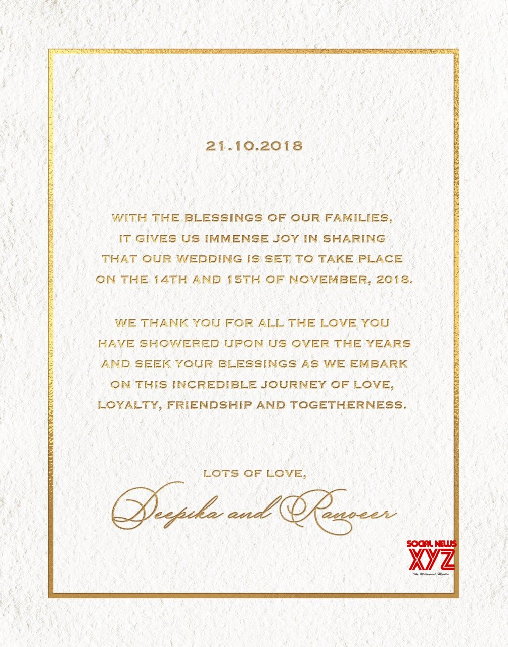 Deepika Padukone And Ranveer Singh Wedding Invitation ...
