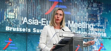 BRUSSELS, Oct. 20, 2018 (Xinhua) -- EU's foreign affairs and security policy chief Federica Mogherini speaks during a press conference of the 12th Asia-Europe Meeting Summit in Brussels, Belgium, Oct. 19, 2018. The two-day Asia-Europe meeting summit wrapped up on Friday in Brussels has called on more connectivity between Europe and Asia. (Xinhua/Zheng Huansong/IANS)