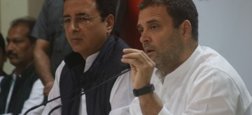 New Delhi: Congress president Rahul Gandhi, accompanied by party leader Randeep Singh Surjewala, addresses a press conference in New Delhi on Nov 2, 2018. (Photo: IANS)