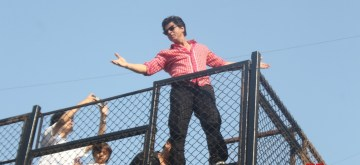 Mumbai: Actor Shah Rukh Khan along with son AbRam Khan greets his fans from his residence - Mannat on his 53rd birthday in Mumbai on Nov 2, 2018. (Photo: IANS)