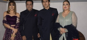 Mumbai: Actor Govinda celebrates Diwali with his wife Sunita Ahuja, son Yashvardan Ahuja and daughter Tina Ahuja at his residence in Mumbai on Nov 7, 2018. (Photo: IANS)