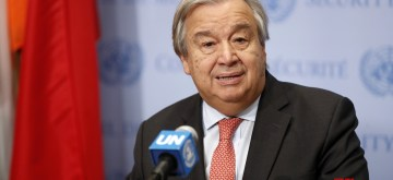 UNITED NATIONS, Nov. 2, 2018 (Xinhua) -- United Nations Secretary-General Antonio Guterres speaks to reporters at the UN headquarters in New York, Nov. 2, 2018. Guterres said Friday that half of Yemenis could face famine, and urged immediate action to prevent the already dire famine situation from getting worse. (Xinhua/Li Muzi/IANS)