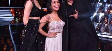 "Mumbai: Actors Sushant Singh Rajput, Sara Ali Khan and singer Neha Kakkar on the sets of singing-based reality show ""Indian Idol 10"" in Mumbai on Nov 12, 2018. (Photo: IANS)"