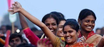 Nalgunda: People during a Telangana Rashtra Samithi (TRS) rally in Nalgunda on Dec 3, 2018. (Photo: IANS)