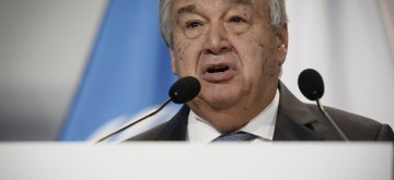 KATOWICE, Dec. 3, 2018 (Xinhua) -- United Nations (UN) Secretary-General Antonio Guterres addresses the UN Climate Change Conference in Katowice, Poland, Dec. 3, 2018. Delegates from nearly 200 countries began talks on Sunday on urgent actions to curb climate change three years after the landmark Paris Climate Change Agreement set a goal of keeping global warming below 2 degrees Celsius. The two-week UN Climate Change Conference, known as COP24, is held in the southern Polish city of Katowice. (Xinhua/Jaap Arriens/IANS)