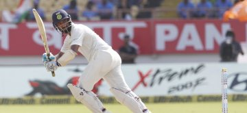 Rajkot: India's Cheteshwar Pujara in action during the 1st Test match between India and West Indies at Saurashtra Cricket Association Stadium in Rajkot on Oct 4, 22018. (Photo: Surjeet Yadav/IANS)
