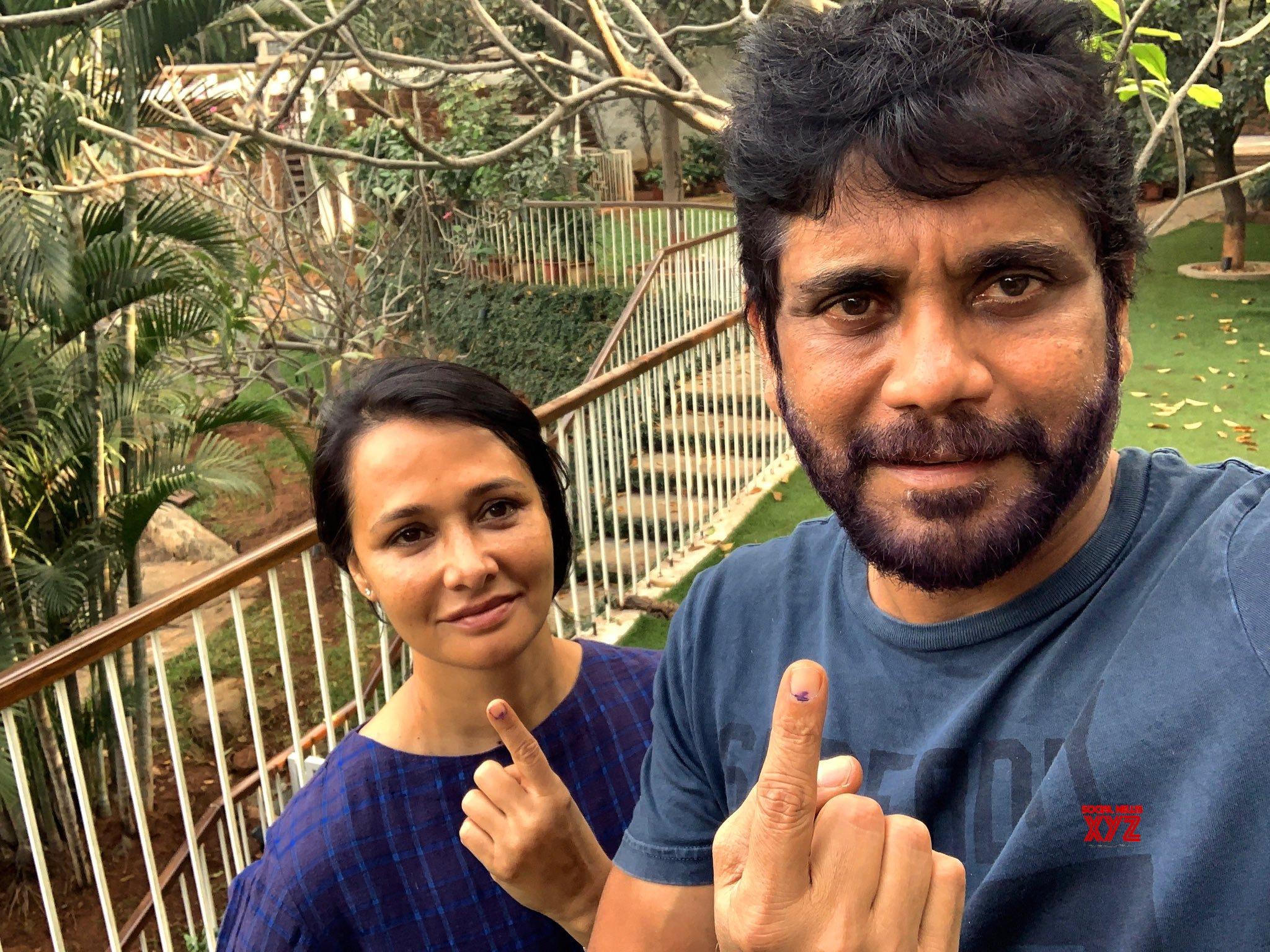 Nagarjuna And Amala Still After Casting Their Vote