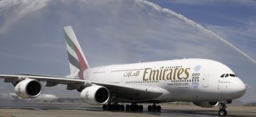 The biggest passenger aeroplane in the world, the A380, arrives to Adolfo Suarez Madrid-Barajas airport in Madrid, Spain, on 01 August 2015. The plane starts a new regular service Madrid-Dubai for Emirates Airline. EFE/Paco Campos