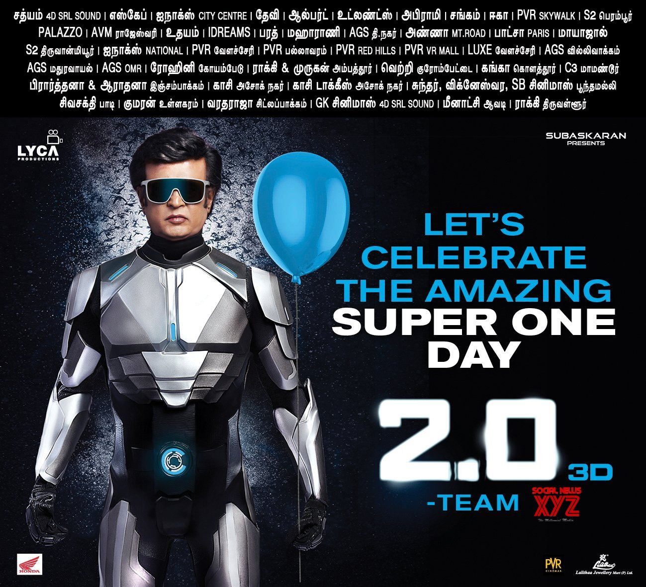 2 0 Movie Super One Rajinikanth Birthday Posters - Social News XYZ