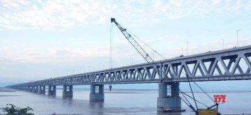Dibrugarh: A view of the under construction Bogibeel Bridge in Assam's Dibrugarh on Dec 5, 2018. (Photo: IANS)