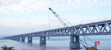 Dibrugarh: A view of the under construction Bogibeel Bridge in Assam's Dibrugarh on Dec 5, 2018. (Photo: IANS)