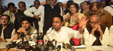 Bhopal: Congress leaders Digvijay Singh, Kamal Nath and Jyotiraditya Scindia during a press conference in Bhopal on Dec 12, 2018. The party is all set to form the government in Madhya Pradesh  with the support of three MLAs of the Bahujan Samaj Party (BSP) and the Samajwadi Party (SP) and four Independents.(Photo: IANS)