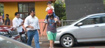 Mumbai: Actor Saif Ali Khan with his son Taimur in Bandra, Mumbai on Dec 13, 2018. (Photo: IANS)
