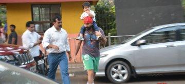 Mumbai: Actor Saif Ali Khan with his son Taimur in Bandra, Mumbai on Dec 13, 2018. (Photo: IANS)