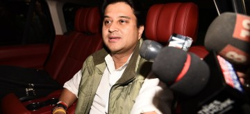 New Delhi: Congress leader Jyotiraditya Scindia arrives to meet party president Rahul Gandhi at his residence in New Delhi on Dec 13, 2018. (Photo: IANS)