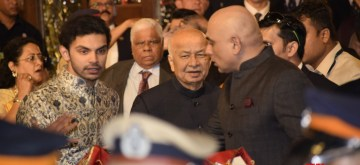 Mumbai: Congress leader Sushilkumar Shinde at the wedding ceremony of industrialist Mukesh Ambani's daughter Isha Ambani and Anand Piramal at Antilia in Mumbai on Dec 12, 2018. (Photo: IANS)