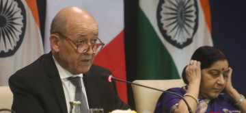 New Delhi: French Foreign Minister Jean-Yves Le Drian accompanied by External Affairs Minister Sushma Swaraj, addresses the joint press statement in New Delhi, on Dec 15, 2018. (Photo: IANS)
