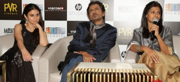 "New Delhi: Director Nandita Das addresses a press conference regarding her upcoming film ""Manto"" along with actors Rasika Dugal and Nawazuddin Siddiqui, in New Delhi on Sept 19, 2018. (Photo: Amlan Paliwal/IANS)"