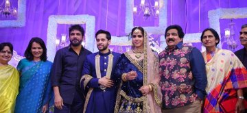 Hyderabad: Badminton stars Saina Nehwal and Parupalli Kashyap during their wedding reception in Hyderabad on Dec. 16, 2018. (Photo: IANS)
