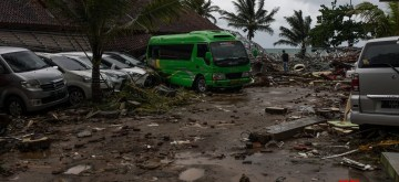 PANDEGLANG, Dec. 23, 2018 (Xinhua) -- Vehicles are seen among the debris after a tsunami hit Sunda Strait in Pandeglang, Banten province, in Indonesia, Dec. 23, 2018. The total casualty of a tsunami triggered by the eruption of Krakatau Child volcano has increased to 168 people in coastal areas of Sunda Strait of western Indonesia, disaster agency official said here on Sunday.   The catastrophe killed at least 168 people, wounded at least 745 ones and collapsed a total of 430 houses and nine hotels, and caused damages to scores of ships. (Xinhua/Veri Sanovri/IANS)
