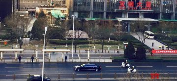 Beijing: A police motorcade escorts a vehicle carrying North Korea's top leader Kim Jong-un through the Jianguomen Outer Street in Beijing on Jan. 9, 2019. The car left the Diaoyutai State Guesthouse in the morning, presumably taking Kim on a tour of economic-technological development zones. Kim is on a four-day visit to China that started Jan. 7, his fourth such journey to his nation's close ally, at the invitation of Chinese President Xi Jinping.(Yonhap/IANS)
