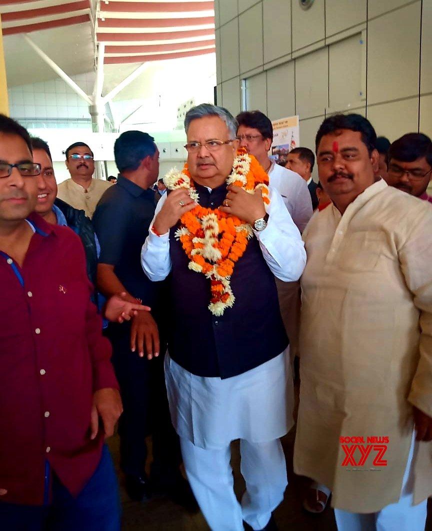 Raipur: Raman Singh arrives in city #Gallery