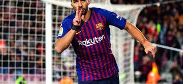 BARCELONA, Jan. 14, 2019 (Xinhua) Barcelona's Luis Suarez celebrates his goal during a Spanish league match between FC Barcelona and SD Eibar in Barcelona, Spain, on Jan. 13, 2019. FC Barcelona won 3-0. (Xinhua/Joan Gosa/IANS)