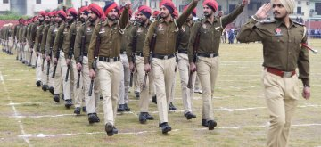 Amritsar:  Punjab Police personnel during 2019 Republic Day parade rehearsals in Amritsar, on Jan 21, 2019. (Photo: IANS)