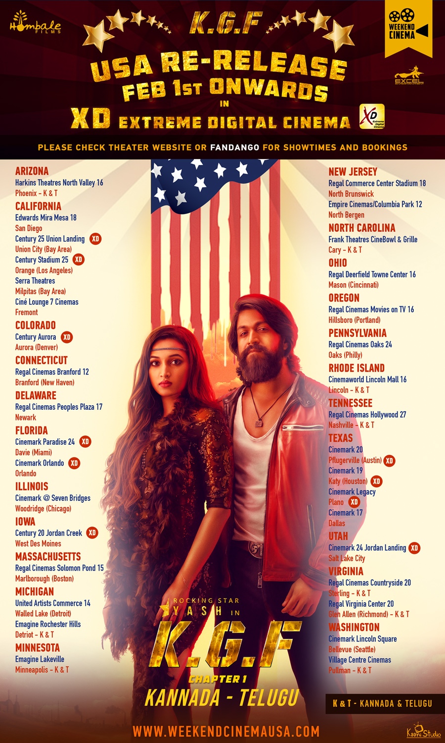 KGF Movie USA Re Release Theaters List