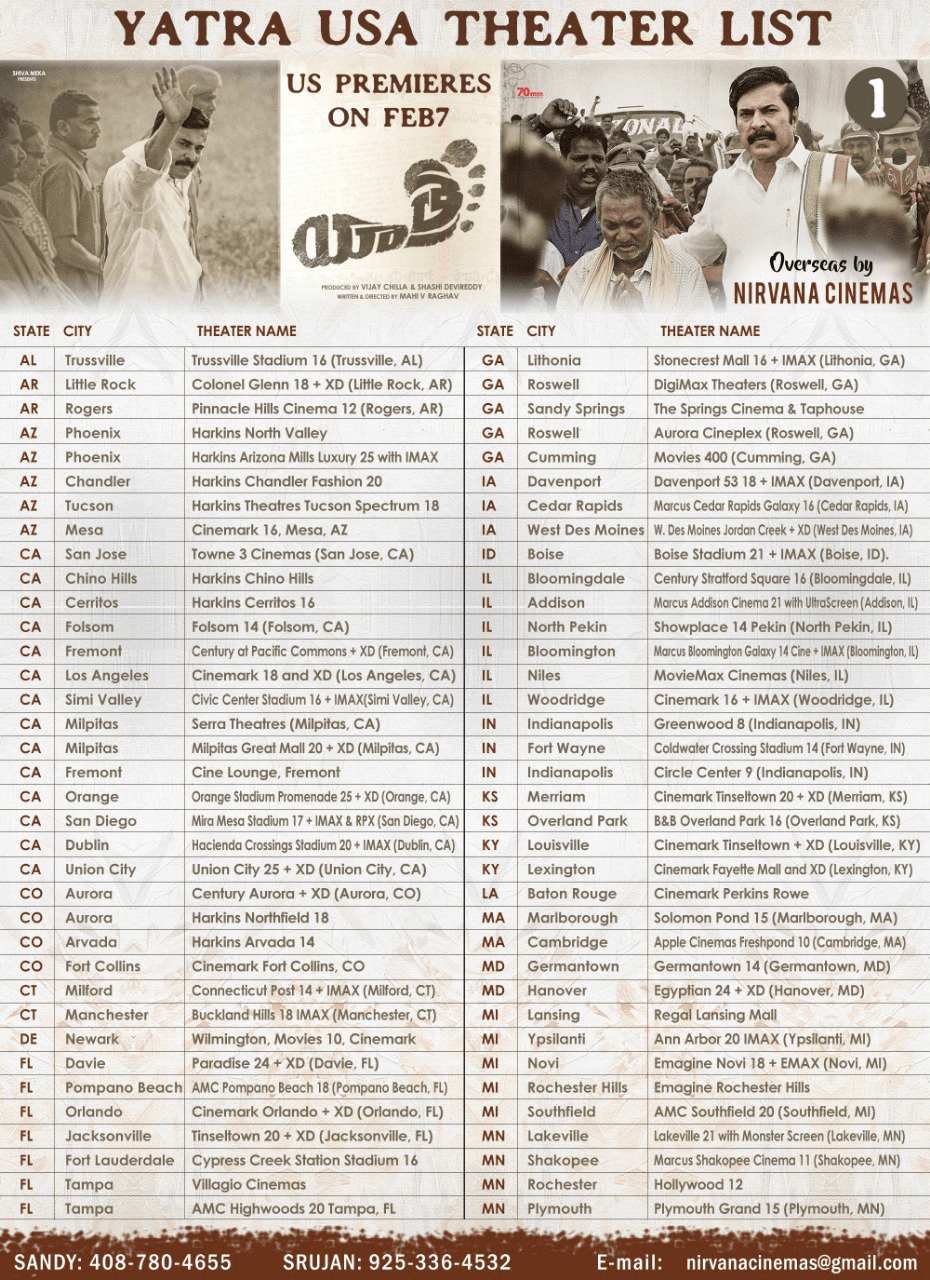 Yatra Movie USA Theaters List Posters