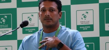 Kolkata: Non- playing captain of the Indian Davis Cup team Mahesh Bhupathi addresses a press conference after a practice session ahead of the Davis Cup World Group qualifier against Italy on February 1-2, in Kolkata on Jan 30, 2019. (Photo: IANS)