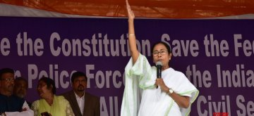 Kolkata: West Bengal Chief Minister Mamata Banerjee addresses during a sit-in (dharna) demonstration over the CBI's attempt to question Kolkata Police Commissioner Rajeev Kumar in connection with a ponzi scheme scam, in Kolkata on Feb 5, 2019. (Photo: IANS)