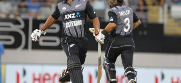 Auckland (New Zealand): New Zealand's Colin de Grandhomme and Ross Taylor during the second T20I match between India and New Zealand at Eden Park in Auckland, New Zealand on Feb 8, 2019. (Photo: Surjeet Yadav/IANS)