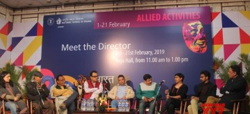 New Delhi: Coordinator: Neetu Vaid, Yoga Teacher NSD- Lokendra Trivedi, Theatre Critics Ravindra Tripathi and Sangam Pandey, Director of Don.... Take Bhalo Lage Sujan Mukhopadhyay, Director of Item Arpita Dhagat, Director of Ashwathaman- Jagadeesh R. during Directors Meet at 20th Bharat Rang Mahotsav (BRM) in New Delhi on Feb 11, 2019. (Photo: IANS)