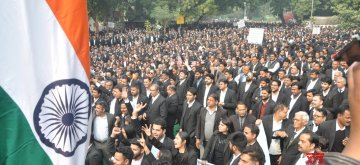 New Delhi: Lawyers stage a demonstration outside Patiala House Courts to press for their demands in New Delhi on Feb 12, 2019. (Photo: IANS)