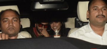 "Mumbai: Actor Ranveer Singh with his wife Deepika Padukone arrive at the special screening of his upcoming film ""Gully Boy"" in Mumbai, on Feb 13, 2019. (Photo: IANS)"