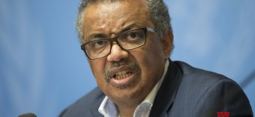 GENEVA, Aug. 14, 2018 (Xinhua) -- Director-General of the World Health Organization Tedros Adhanom Ghebreyesus attends a press conference in Geneva, Switzerland, Aug. 14, 2018. Tedros Adhanom Ghebreyesus said Tuesday that he's even more worried about the latest Ebola outbreak in the Democratic Republic of Congo (DR Congo) after his recent visit to the country, mainly because of the intense security challenge in the virus-hit areas. (Xinhua/Xu Jinquan/IANS)