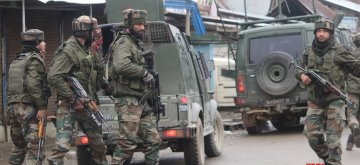 Sopore: Soldiers during an encounter with militants in which two militants were killed in Jammu and Kashmir's Sopore town on Feb 22, 2019. (Photo: IANS)