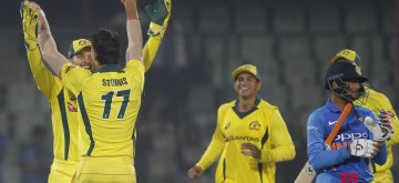 New Delhi:  Australia's players celebrate after winning the fifth ODI match against India at Feroz Shah Kotla Stadium, in New Delhi, on March 13, 2019. Australia won the 5-match series 3-2. (Photo: Surjeet Yadav/IANS)