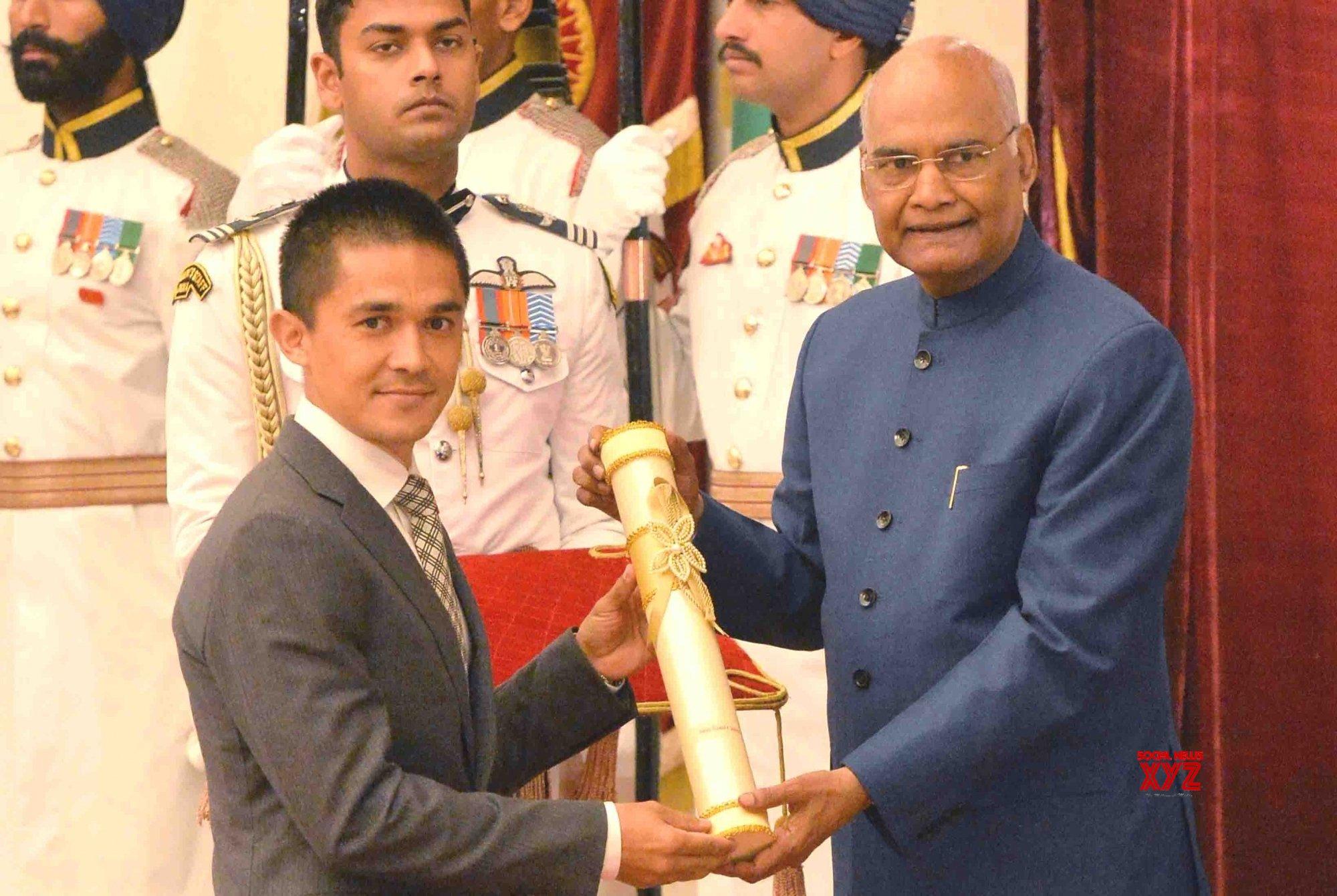 New Delhi: President Kovind presents Padma Awards - Sunil Chettri (Batch 7) #Gallery